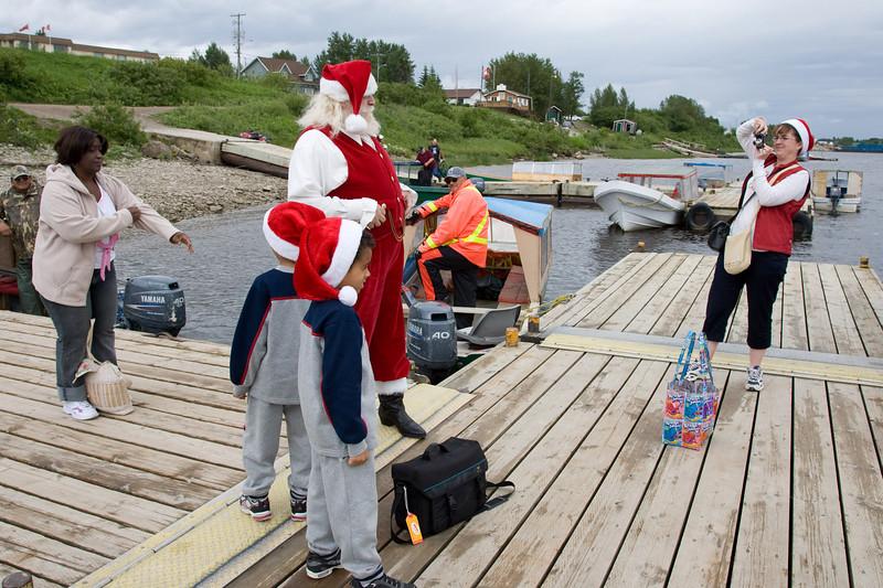 Santa at boat docks in Moosonee