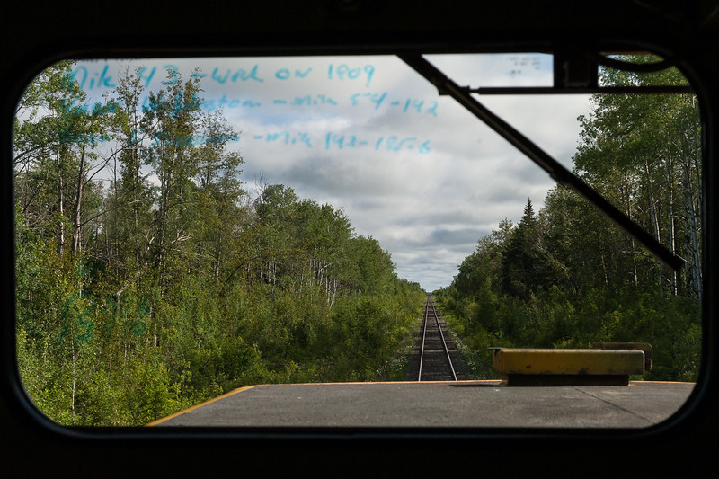 View from cab of GP38-2 1802 as the Polar Bear Express heads north from Cochrane 2007 July 6.