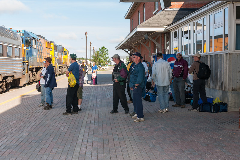 Passengers watc the Polar Bear Expres arrive at the station platform in Cochrane. 2007 July 6th.