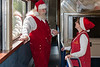 Santa Claus speaking to ONR staff on the lower level of dome car Twilight 902 2007 July 6