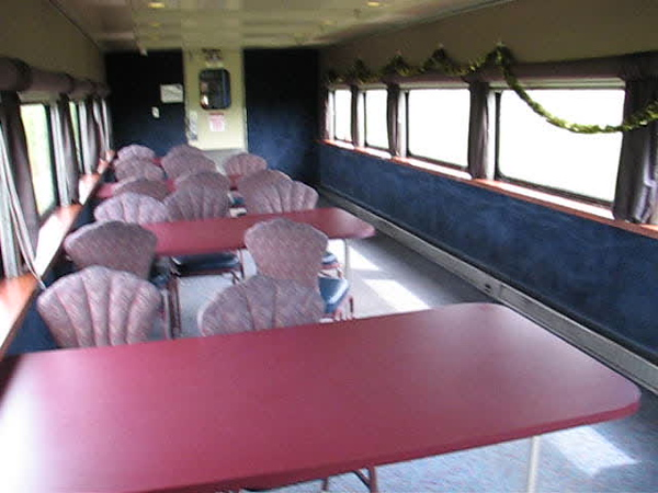 Empty lower level on dome car Twilight 902 as the Polar Bear Express gets closer to Moosonee 2007 July 6