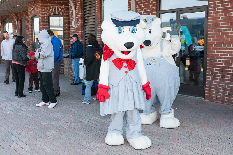 Polar Bear mascots on the station platform in Cochrane 2007 July 6