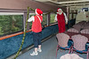 Santa Claus and ONR staffer on lower level of dome car Twilight 902. 2007 July 6