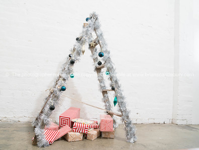 Ladder decorated as Christmas tree.