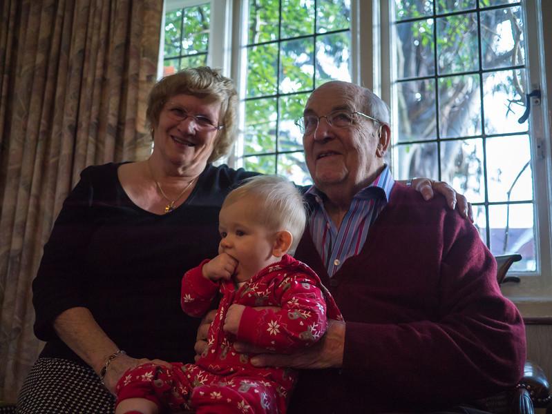 Granddad Granddad and Elizabeth with Arthur.
