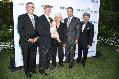 BEVERLY HILLS, CA - SEPTEMBER 19:  (L-R) CEO of One Mind for Research General Peter Chiarelli, co-founder of One Mind for Research Patrick Kennedy, actress Glenn Close, actor Tom Hanks and co-founder of One Mind for Research Garen K. Staglin attend the Circle of Hope dinner and entertainment gala at Beverly Hills Hotel on September 19, 2012 in Beverly Hills, California.  (Photo by Chelsea Lauren/WireImage)