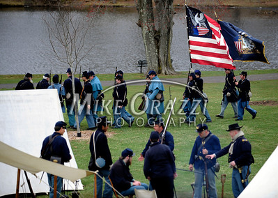 4/16/2011 Mike Orazzi | Staff The Civil War battle reenactment at Stanley Quarter Park in New Britain on Saturday as part of the Civil War's 150 year commemoration.