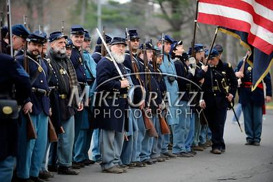 4/16/2011 Mike Orazzi | Staff Members of the Union Army line up for their Civil War battle reenactment at Stanley Quarter Park in New Britain on Saturday.