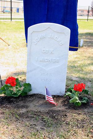 Record-Eagle/Loraine Anderson<br /> John Jacko's new gravestone at Maple Lawn Cemetery in Boyne City.