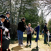 "Record-Eagle/Loraine Anderson<br /> Scott Schwander and son Walker, Mesick descendants of Civil War sharpshooter John Jacko play ""Amazing Grace"" on their native flutes at a grave dedication ceremony in Boyne City on May 7, 2011."