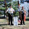 Record-Eagle/Loraine Anderson<br /> Jack Swanson, left, commander of the Eagletown VFW Post 120 in Leelanau County, and Ogitchedaw veteran Larry Peters  stands by the new headstone for Michigan Co. K sharpshooter William Isaacs, who was buried in an unmarked grave in 1907. The ANishinable Ogitchedaw Veterans and Warriors Society is a veterans association for Indian soldiers who served in the military, similar to the Amerian Legion and Veterans of Foreign Wars.