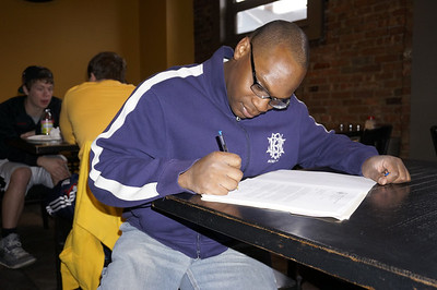 Brian Innis '99 at a pizzeria in South Orange.