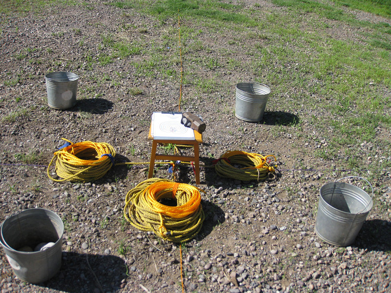 Ropes ready for layout of skeleton labyrinth.