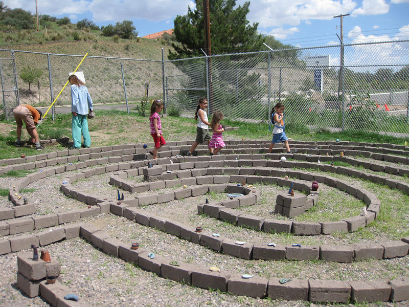 First people enjoying the labyrinth.