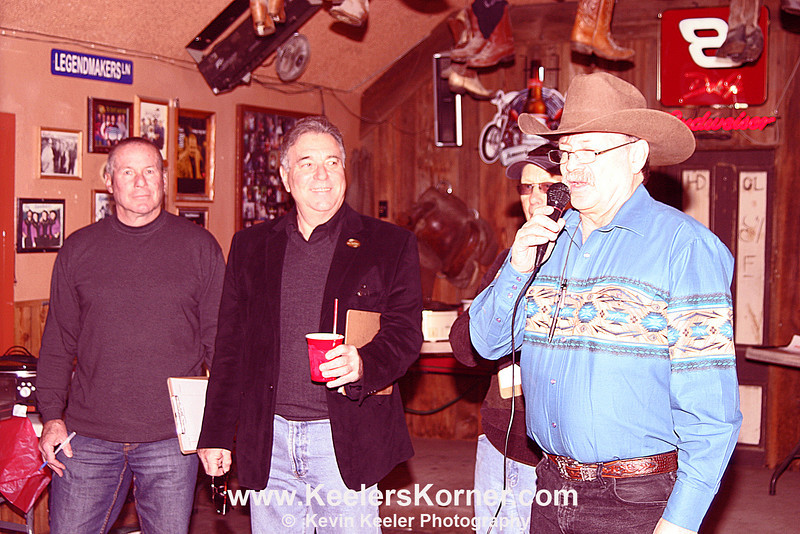 The judges from left to right, Chief of Police Dan Lawrence, Vice-Mayor Howard Geller, Bob Steiner Owner of the Clayton Pioneer, and Clayton Club Saloon Owner Steve Barton