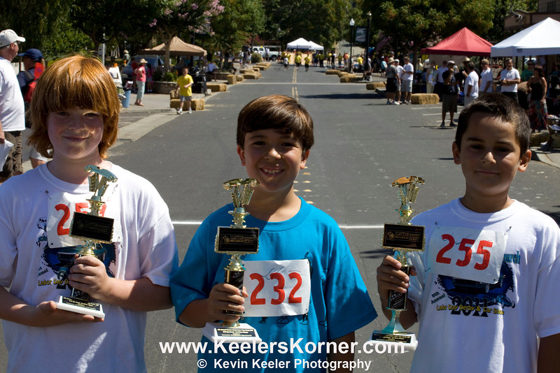 L to R. Winners in Age group 9-10. 3rd place Eric Scenasi, 2nd Place Lucas Lauricella, 1st Place Nicholas Stelchek.