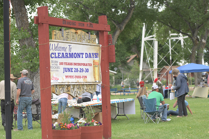 Ryan Patterson | The Sheridan Press<br /> A sign welcomes attendees to the Clearmont Park during Clearmont Days Saturday, June 29, 2019.