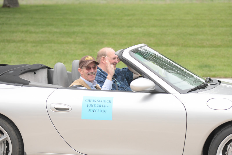 Ryan Patterson | The Sheridan Press<br /> Clearmont Mayor Greg Rohrer, right, drives with former Clearmont Mayor Chris Schock during Clearmont Days Saturday, June 29, 2019.