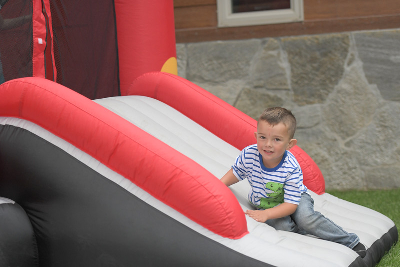 Ryan Patterson | The Sheridan Press<br /> Grady Betz, age 3, prepares to head into an inflatable obstacle course during Clearmont Days Saturday, June 29, 2019.