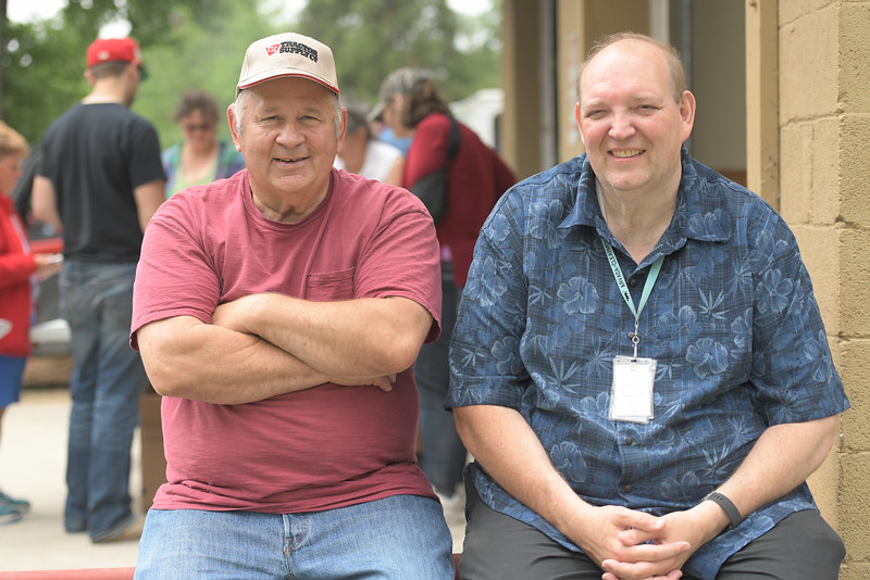 Ryan Patterson | The Sheridan Press<br /> Kenny Korp, left, and Greg Rohrer smile during Clearmont Days Saturday, June 29, 2019. Korp has lived in Clearmont since 1974 and Rohrer is the mayor of Clearmont.