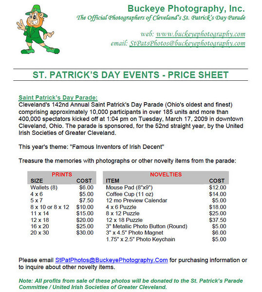 2009 Pricing Sheet 20090401