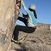 Climbing on Pinhead Boulder
