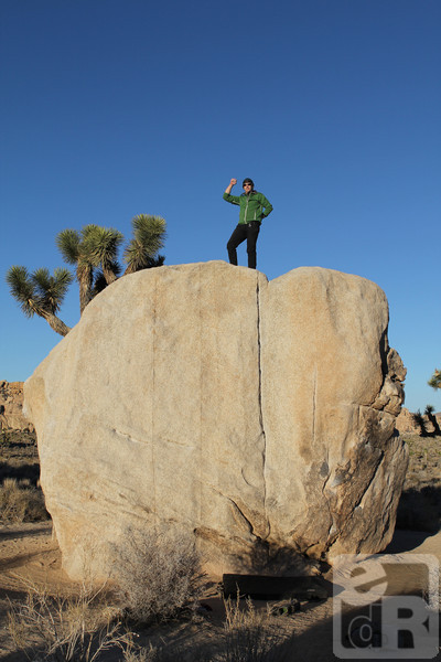 K topping out on Pinhead Boulder