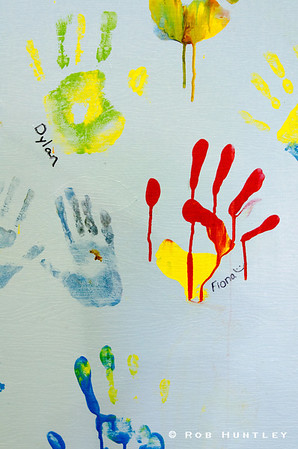 Handprints on the wall. Graffiti.