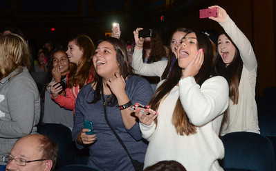 """Erica Benson-ebenson@shawmedia.com Cody Simpson fans including (left) Samantha Prado (right) Dominique DeFilippis of River Forest and (back) Morgan Gerhardt of Naperville show their enthusiasm during his performance at the Tivoli Theatre Tuesday October 22 2013. Cody made a brief performance followed by a book signing for his book """"Welcome to Paradise: My Journey"""""""