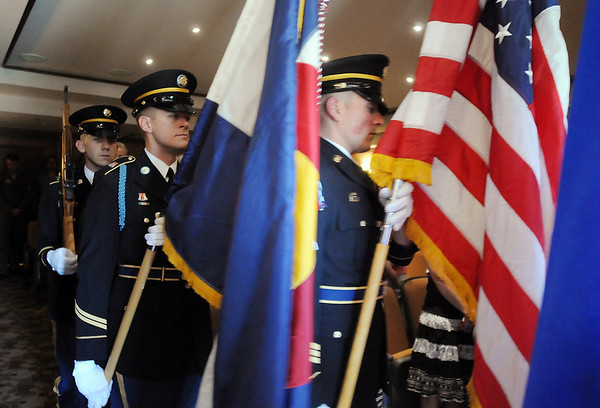 The Colorado National Guard honor guard brings in the United States and Colorado flags to start the ceremony to give Josephine Kater Robinson, 92, a WWII WASP, Women Airforce Service Pilots, her Congressional Gold Medal at The Stratford at the Flatirons on Saturday.<br /> May 22, 2010<br /> Staff photo/ David R. Jennings