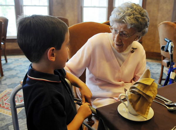 Josephine Kater Robinson, 92, a WWII WASP, Women Airforce Service Pilots, chats with her great grandson Caleb Floyd, 6, after Robinson was given the Congressional Gold Medal dat The Stratford at the Flatirons on Saturday.<br /> May 22, 2010<br /> Staff photo/ David R. Jennings