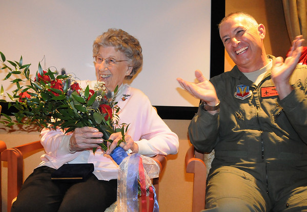 Josephine Kater Robinson, 92, a WWII WASP, Women Airforce Service Pilots, laughs with Major General H. Michael Edwards  during Senator Mark Udall's speech after Robinson was given the  Congressional Gold Medal during the ceremony at The Stratford at the Flatirons on Saturday.<br /> May 22, 2010<br /> Staff photo/ David R. Jennings