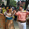 JUly 20, 2021 -- Colombian flag-raising at Lowell City Hall. Dance group Bajucol performs, including  Luis Ortega of Everett and Samantha Correa of Winthrop. SUN/Julia Malakie