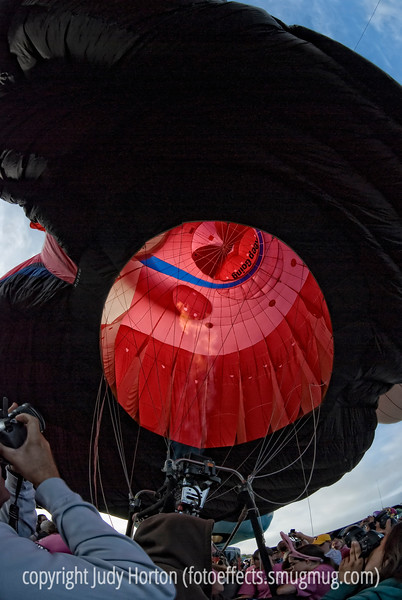 Looking into the bowels of the Energizer Bunny hot air balloon at the Colorado Balloon Classic, 2009.