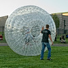 Someone is having fun inside a huge ball