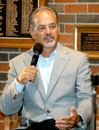 John P. Cleary | The Herald Bulletin<br /> Indianapolis Colts head coach Chuck Pagano tells a sold out crowd at the annual City of Anderson Colts Camp Breakfast Friday morning about this years team and how training camp has been progressing.