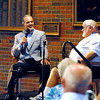 John P. Cleary | The Herald Bulletin<br /> Indianapolis Colts head coach Chuck Pagano answers questions from the voice of the Colts Bob Lamey during a Q&A session at the Breakfast with the Indianapolis Colts Friday morning at Reardon Auditorium.