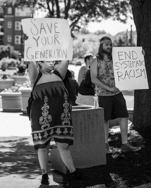 Protestors on Washington Street in Columbus, Indiana, remembering George Floyd. Photo by Tony Vasquez on May 30, 2020.