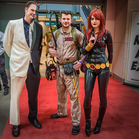 Wizard World Comic Con Minneapolis 2015, Cosplay, Black Widow Costume, Harvey Dent Two Face Costume, Ghostbuster Costume