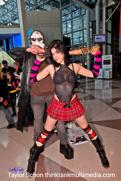 "Characters from Hack/Slash - Vladmir and Cassie Hack. Vladmir is wearing boots that are 7 inches tall. <br /> ""There was one really really hairy dude in a scarlett witch costume. It was epic!"""