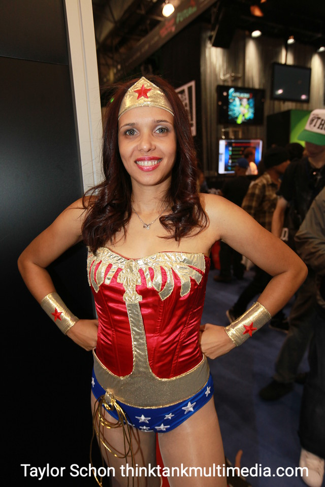 """Renata Gatti / WONDERWOMAN<br />  <br /> """"I love Wonderwoman, and this the second costume I've entirely made. There was a guy, he was a staff member, he wanted a picture of me because he's meeting with (original actress) Linda Carter.  .  . """"<br /> <br /> A likely story. What will you be dressing up as next year? <br /> <br /> """"…..""""<br /> <br /> [NB, we weren't paying attention, but rather admiring her, erm, outfit!]"""