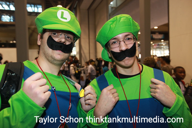 """Two Luigis<br /> <br /> """"Everyone expects Mario and Luigi - nobody expects two Luigis."""" <br /> <br /> Who's the real Luigi? <br /> <br /> """"Both of us - we live in different dimensions. We've had some funny looks from people. Couple of girls grabbed our asses...""""<br /> <br /> Did they want to check out your plumbing? <br /> <br /> """"There were some old ladies…""""<br /> <br /> Result: Has serious potential with its plumbing metaphors and phallic plunger accessories. 6/10"""