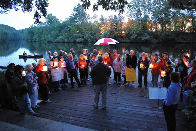 A candlelight commemorative vigil, held on August 6, 2008, in Watertown, Massachusetts, in honor of those who died in the attack on Hiroshima, August 6, 1945.