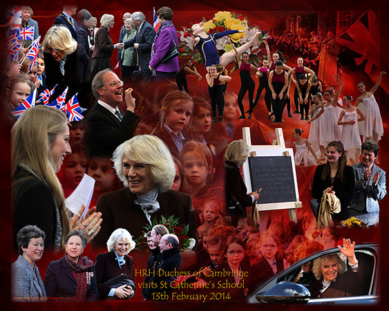 HRH Duchess of Cornwall visits St Catherines School in Bramley.  Dedication of the Anniversary Hall. 13th February 2014