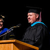 Kevin Haberman of Mitchell delivers the closing moment of reflection at Chadron State College's graduate commencement ceremony Saturday. (Photo by Daniel Binkard/Chadron State College)