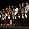 The finalists for the Platinum Eagle award line up on the Memorial Hall stage during Ivy Day on May 4. The award, which honors one male and one female student for distinguished leadership and service, is considered to be the highest honor a CSC student can receive. (Photo by Justin Haag)