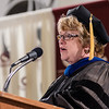 Dr. Lois Veath, Chadron State College vice president of academic affairs, speaks during CSC's undergraduate commencement ceremony. Saturday's commencement marked Veath's final graduation ceremony; she is retiring this year. (Photo by Daniel Binkard/Chadron State College)