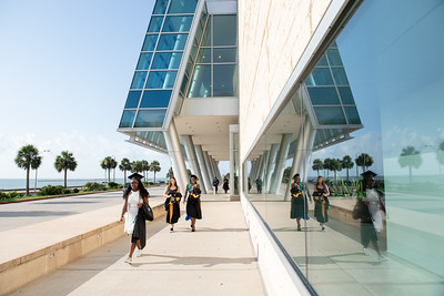 TAMU-CC graduates make their way to the American Bank Center for the 2018 Summer Commencement Ceremony.