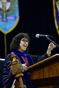 Commencement Speaker Elaine Mendoza, Vice Chair of the Texas A&M University System Board of Regents, addresses over 1,000 graduates at the Spring 2018 Texas A&M University-Corpus Christi Commencement ceremony, Saturday May 12, 2018 in the American Bank Center.