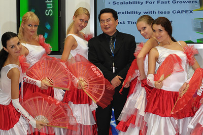 Visitors get to pose with the CBOSS girls at their Booth at CommunicAsia 2008 & BroadcastAsia 2008 held at Singapore Expo, Singapore.